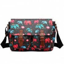L1107NEW-E - Miss Lulu Oilcloth Satchel Elephant Black