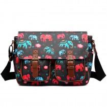 L1107NEW-E - Miss Lulu Oilcloth Satchel Elephant Black