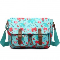 L1107NEW-E - Miss Lulu Oilcloth Satchel Elephant Light Blue