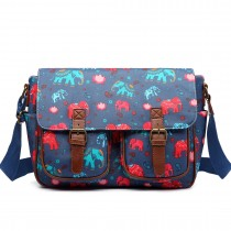 L1107NEW-E - Miss Lulu Oilcloth Satchel Elephant Navy
