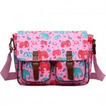 L1107NEW-E - Miss Lulu Oilcloth Satchel Elephant Pink