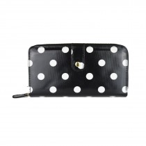 L1109D2 - Miss Lulu Oilcloth Purse Polka Dot Black