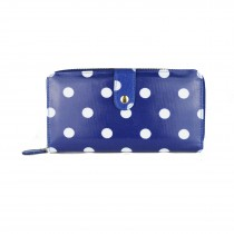 L1109D2 - Miss Lulu Oilcloth Purse Polka Dot Navy