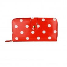 L1109D2 - Portefeuilles en toile cirée Miss Lulu à pois en Rouge
