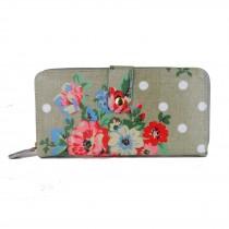 L1109F - Miss Lulu Oilcloth Purse Flower Polka Dot Grey
