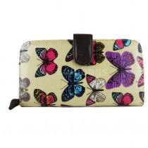 L1109B - Miss Lulu Oilcloth Purse Butterfly Beige