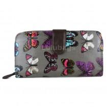 L1109B - Miss Lulu Oilcloth Purse Butterfly Grey