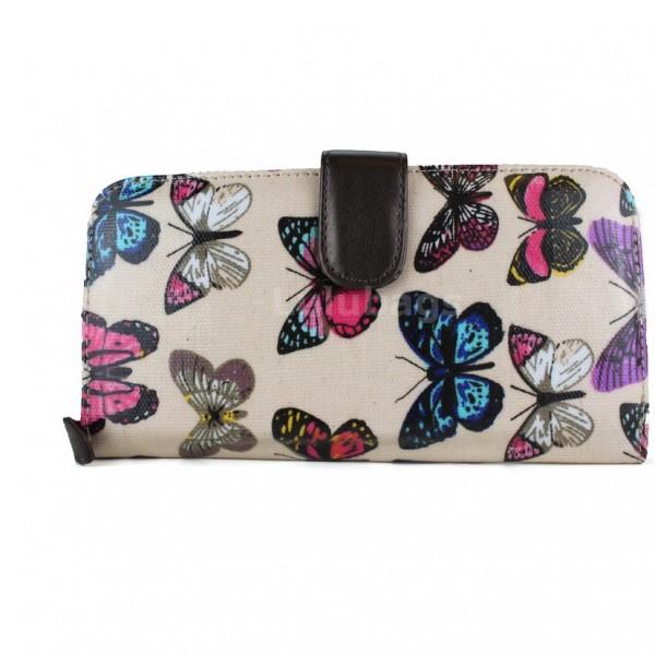 L1109B - Miss Lulu Oilcloth Purse Butterfly Pink