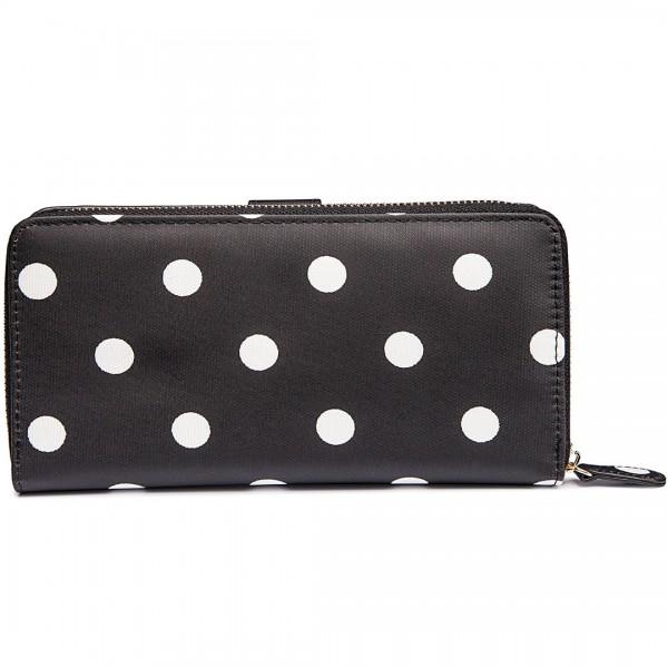 L1109D2 - Miss Lulu Oilcloth Purse Polka Dot Black