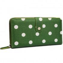 L1109D2 - Monedero impermeable Miss Lulu de lunares en verde