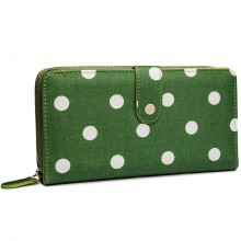 L1109D2 - Miss Lulu Oilcloth Purse Polka Dot Green
