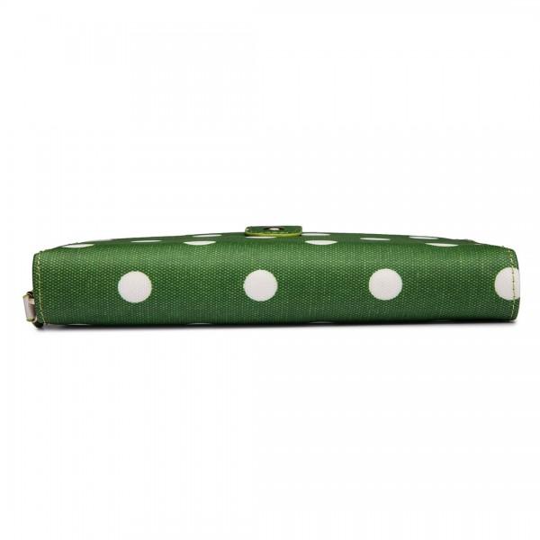 L1109D2 - Miss Lulu Oilcloth Purse Polka Dot Green