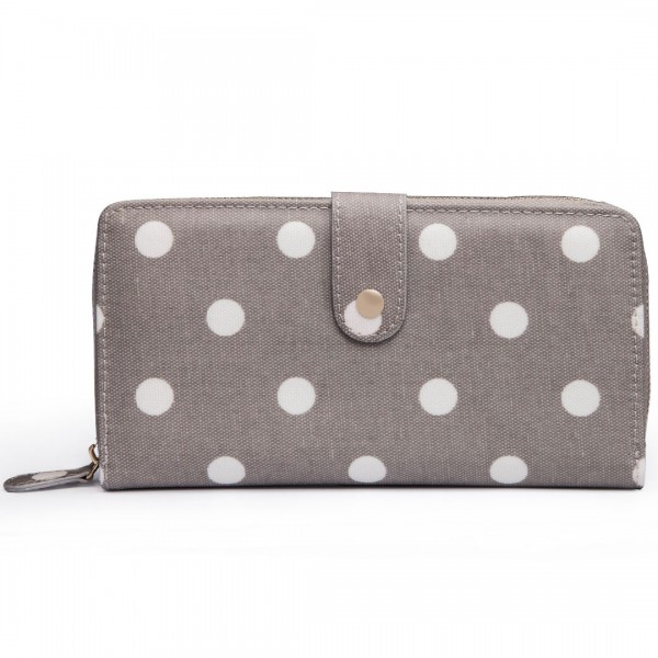 L1109D2 - Miss Lulu Oilcloth Purse Polka Dot Grey