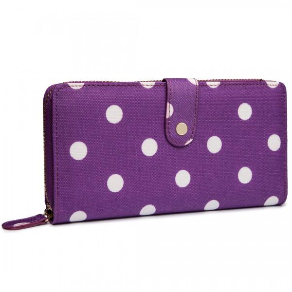 L1109D2 - Miss Lulu Oilcloth Purse Polka Dot Purple