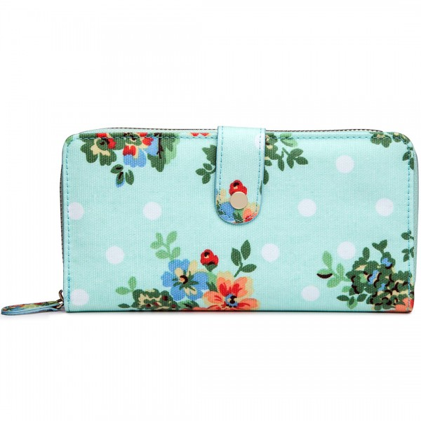 L1109F - Miss Lulu Oilcloth Purse Flower Polka Dot Blue