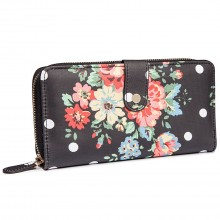 L1109F - Miss Lulu Oilcloth Purse Flower Polka Dot Black