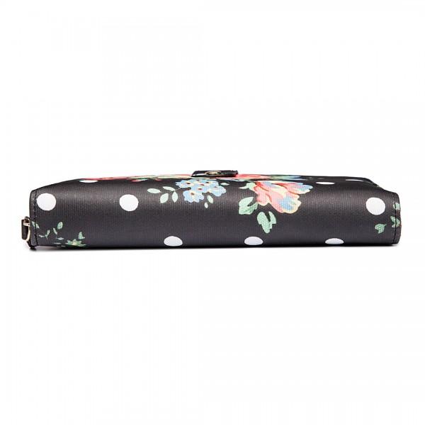 L1109F - Monedero impermeable Miss Lulu de lunares y flores en negro