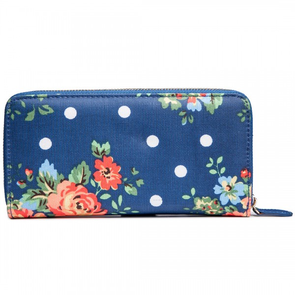 L1109F - Miss Lulu Oilcloth Purse Flower Polka Dot Navy