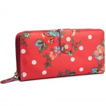 L1109F - Miss Lulu Oilcloth Purse Flower Polka Dot Plum