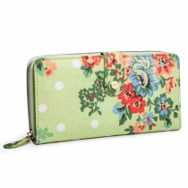 L1109F --Miss Lulu Oilcloth Purse Flower Polka Dot Green