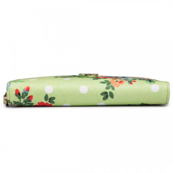 L1109F - Miss Lulu Oilcloth Purse Flower Polka Dot Green