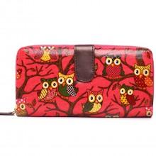 L1109W - Miss Lulu Oilcloth Purse Owl Plum