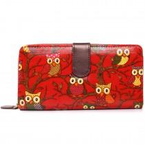 L1109W - Miss Lulu Oilcloth Purse Owl Red