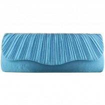 L1112 - Miss Lulu Ruched Evening Clutch Bag Light Blue