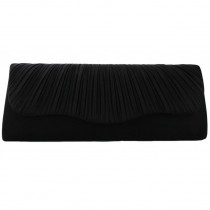 L1112 - Miss Lulu Ruched Evening Clutch Bag Black