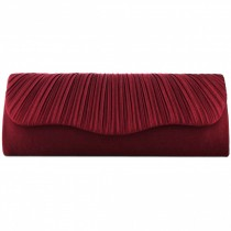 L1112 - Miss Lulu Ruched Evening Clutch Bag Burgundy