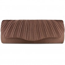 L1112 - Miss Lulu Ruched Evening Clutch Bag Coffee