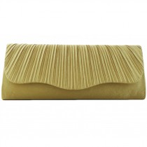 L1112 - Miss Lulu Ruched Evening Clutch Bag Gold