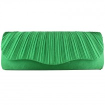 L1112 - Miss Lulu Ruched Evening Clutch Bag Green