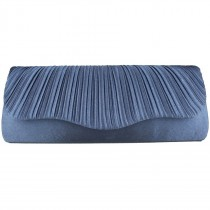 L1112 - Miss Lulu Ruched Evening Clutch Bag Navy