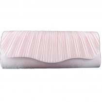 L1112 - Miss Lulu Ruched Evening Clutch Bag Pink