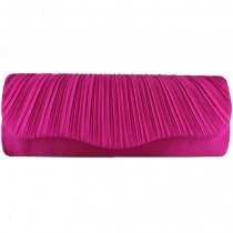 L1112 - Miss Lulu Ruched Evening Clutch Bag Rose
