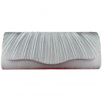L1112 - Miss Lulu Ruched Evening Clutch Bag Silver