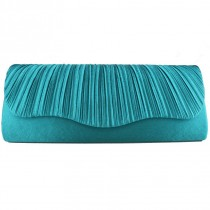 L1112 - Miss Lulu Ruched Evening Clutch Bag Teal