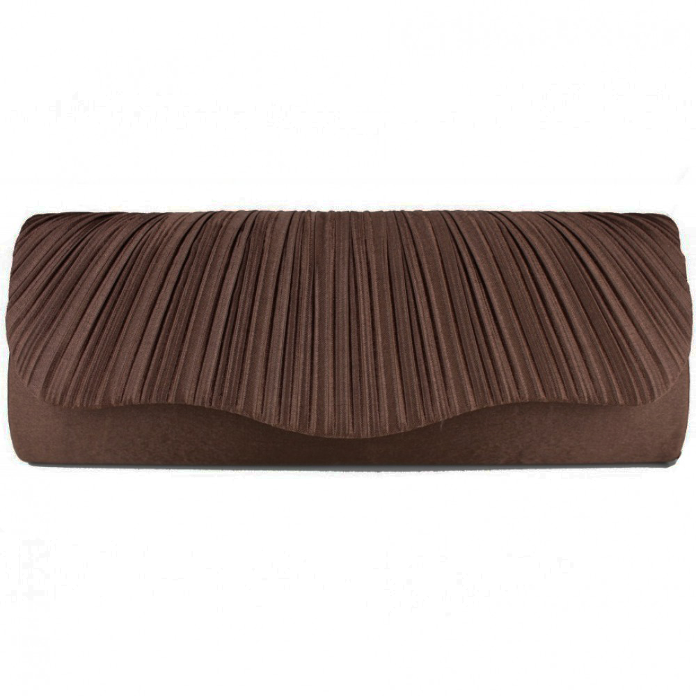 Miss Lulu Ruched Evening Clutch Bag Dark Brown