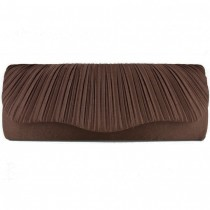 L1112 - Miss Lulu Ruched Evening Clutch Bag Dark Brown