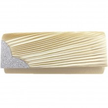 L1113 - Miss Lulu Ruched Diamante Evening Clutch Bag Beige