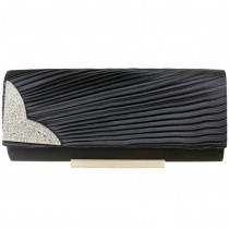 L1113 - Miss Lulu Ruched Diamante Evening Clutch Bag Black