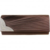L1113 - Miss Lulu Ruched Diamante Evening Clutch Bag Brown