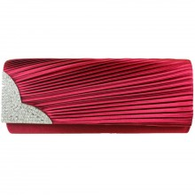 L1113 - Miss Lulu Ruched Diamante Evening Clutch Bag Burgundy