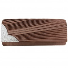 L1113 - Miss Lulu Ruched Diamante Evening Clutch Bag Coffee