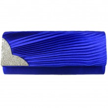 L1113 - Miss Lulu Ruched Diamante Evening Clutch Bag Royal Blue