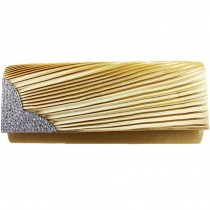 L1113 - Miss Lulu Ruched Diamante Evening Clutch Bag Gold