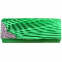 L1113 - Miss Lulu Ruched Diamante Evening Clutch Bag Green