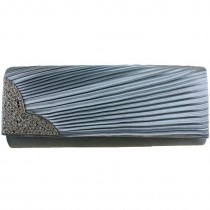 L1113 - Miss Lulu Ruched Diamante Evening Clutch Bag Grey