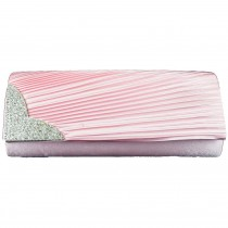 L1113 - Miss Lulu Ruched Diamante Evening Clutch Bag Light Pink